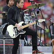 Country singer Hunter Hayes performs as the halftime entertainment of the NCAA Capital One Bowl football game between the South Carolina Gamecocks and the Wisconsin Badgers at the Florida Citrus Bowl on Wednesday, January 1, 2014 in Orlando, Florida. (AP Photo/Alex Menendez)