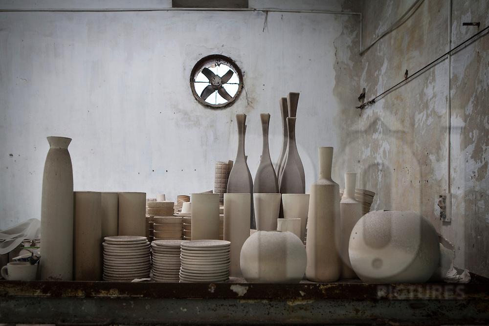 Finished ceramic goods in Bat Trang ceramic village, Hanoi, Southeast Asia