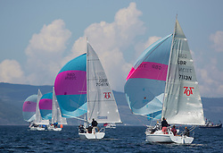 Final days' racing at the Silvers Marine Scottish Series 2016, the largest sailing event in Scotland organised by the  Clyde Cruising Club<br /> <br /> Racing on Loch Fyne from 27th-30th May 2016<br /> <br /> Hunter 707, Fleet, downwind, 7061, Rammie, M Fleming/D Smith, ASYC, 7113, Chaos, Alistair Gray, HSC/RNCYC<br /> <br /> Credit : Marc Turner / CCC<br /> For further information contact<br /> Iain Hurrel<br /> Mobile : 07766 116451<br /> Email : info@marine.blast.com<br /> <br /> For a full list of Silvers Marine Scottish Series sponsors visit http://www.clyde.org/scottish-series/sponsors/