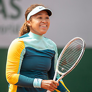 PARIS, FRANCE May 29. Naomi Osaka of Japan practicing on court five in preparation for the 2021 French Open Tennis Tournament at Roland Garros on May 29th 2021 in Paris, France. (Photo by Tim Clayton/Corbis via Getty Images)