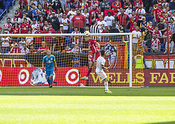 September 30, 2018 - Harrison, New Jersey, United States - Aaron Long (33) of Red Bulls control air ball during regular MLS game against Atlanta United FC at Red Bull Arena Red Bulls won 2 - 0 (Credit Image: © Lev Radin/Pacific Press via ZUMA Wire)