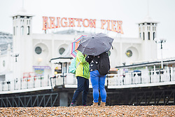 © Licensed to London News Pictures. 21/01/2018. Brighton, UK. Members of the public brave the wet weather to spend time on the beach and Brighton Palace Pier in Brighton and Hove today. Photo credit: Hugo Michiels/LNP