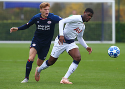 November 6, 2018 - London, England, United Kingdom - Enfield, UK. 06 November, 2018.L-R Yorbe Vertessen of PSV Eindhoven and Timothy Eyoma of Tottenham Hotspur.during UEFA Youth League match between Tottenham Hotspur and PSV Eindhoven at Hotspur Way, Enfield. (Credit Image: © Action Foto Sport/NurPhoto via ZUMA Press)