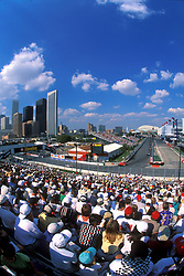 Stock photo of a view of the track from the stands at the Houston Texaco Grand Prix
