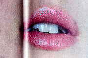 mouth close up with printing halftone dots