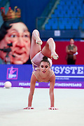 Katrin Taseva during the qualification of ball at the Pesaro World Cup 2018. Katrin is a Bulgarian gymnast born in Samokov on November 24, 1997. She is a member of the Bulgarian National team since 2010.