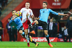 November 10, 2017 - Warsaw, Poland - Jacek Goralski (POL), Rodrigo Bentancur (URU), Matias Vecino (URU) in action during the international friendly match between Poland and Uruguay at National Stadium on November 10, 2017 in Warsaw, Poland. (Credit Image: © Foto Olimpik/NurPhoto via ZUMA Press)