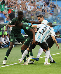 SAINT PETERSBURG, June 26, 2018  Ahmed Musa (2nd L) of Nigeria vies with Nicolas Tagliafico (1st R) of Argentina during the 2018 FIFA World Cup Group D match between Nigeria and Argentina in Saint Petersburg, Russia, June 26, 2018. (Credit Image: © Yang Lei/Xinhua via ZUMA Wire)