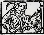The Butcher. Woodcut from 'Calendarum Romanum Magnum',  1518.
