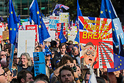 Forming up in Park lane - The People's Vote March For The Future demanding a Vote on any Brexit deal. The protest assembled on Park Lane and then marched to Parliament Square for speeches.