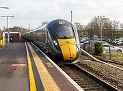 GWR Intercity Express train arriving at platform Chippenham railway station, Wiltshire, England, UK - Main Line from London to South Wales