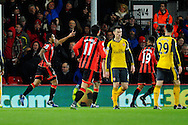 AFC Bournemouth forward Callum Wilson celebrates scoring a goal from the penalty spot to give a 2-0 lead to the home team during the Premier League match between Bournemouth and Arsenal at the Vitality Stadium, Bournemouth, England on 3 January 2017. Photo by Graham Hunt.