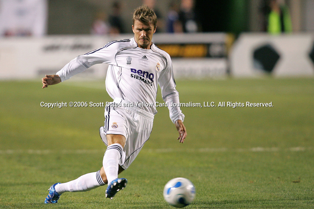 12 August 2006: Real Madrid's David Beckham. Real Madrid of La Liga in Spain defeated Real Salt Lake of Major League Soccer in the U.S. 2-0 at Rice-Eccles Stadium in Salt Lake City, Utah in the 2006 XanGo Cup, an international club friendly.