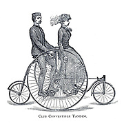 Man and woman ride a Club Convertible Tandem Converted from a tricycle to be used be two people. From Wheels and Wheeling; An indispensable handbook for cyclists, with over two hundred illustrations by Porter, Luther Henry. Published in Boston in  1892