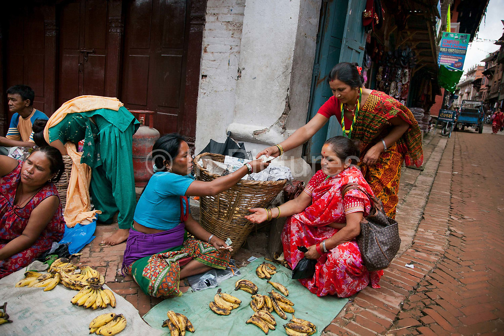 Banana street sellers in one of the side streets to Bhaktapur Durbar Square.