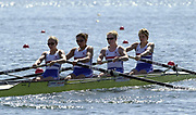 ©  Peter Spurrier Sports Photo<br /> email pictures@rowingpics.com<br /> tel +44 (0)7973 819551<br /> Photo Peter Spurrier<br /> 08/08/2002 Sport - Rowing<br /> World Junior Rowing Championships <br /> GBR JW4-  Bow Rebecca Bates, Lucy Buglas, Henrietta Greene and Hannah Faux