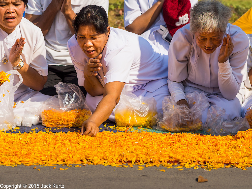 """02 JANUARY 2015 - KHLONG LUANG, PATHUM THANI, THAILAND: A woman places marigolds on the monks' footpath at Wat Phra Dhammakaya on the first day of the 4th annual Dhammachai Dhutanaga (a dhutanga is a """"wandering"""" and translated as pilgrimage). More than 1,100 monks are participating in a 450 kilometer (280 miles) long pilgrimage, which is going through six provinces in central Thailand. The purpose of the pilgrimage is to pay homage to the Buddha, preserve Buddhist culture, welcome the new year, and """"develop virtuous Buddhist youth leaders."""" Wat Phra Dhammakaya is the largest Buddhist temple in Thailand and the center of the Dhammakaya movement, a Buddhist sect founded in the 1970s.   PHOTO BY JACK KURTZ"""