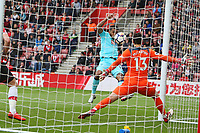Football - 2017 / 2018 Premier League - Southampton vs. AFC Bournemouth<br /> <br /> Bournemouth's Joshua King fires into the roof of the net to equalise at St Mary's Stadium Southampton<br /> <br /> COLORSPORT/SHAUN BOGGUST