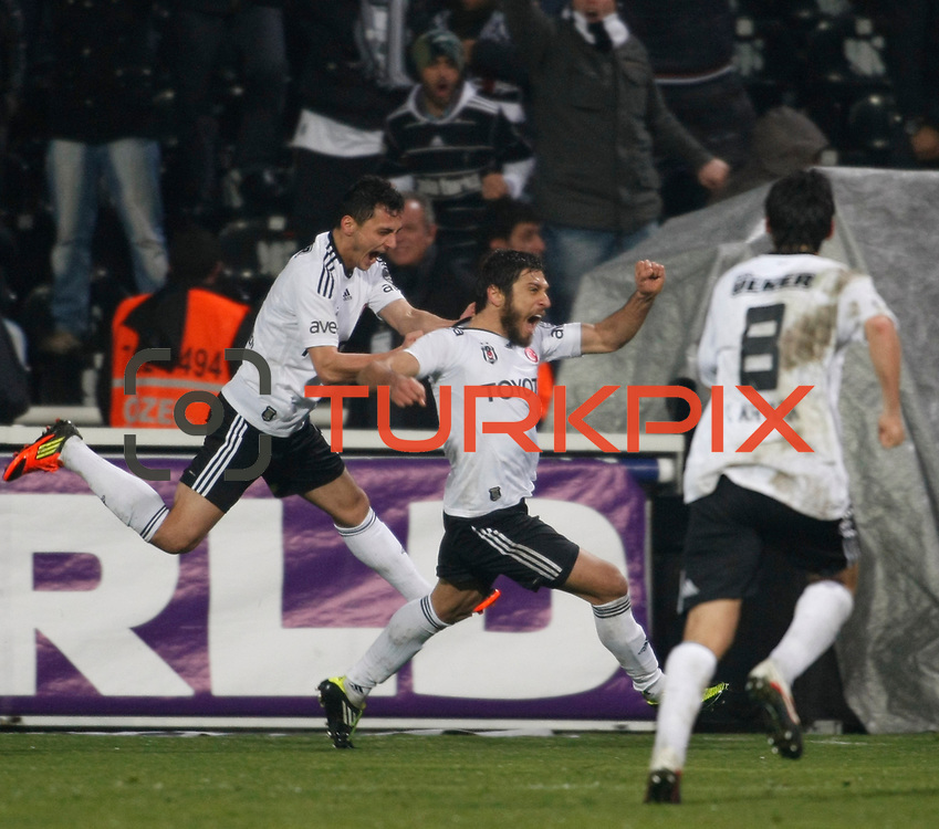 Besiktas's Egemen Korkmaz (C) celebrate his goal with team mate during their Turkish superleague soccer match Besiktas between Gaziantepspor at BJK Inonu Stadium in Istanbul Turkey on Tuesday, 05 January 2012. Photo by TURKPIX