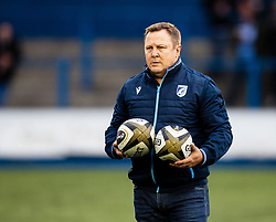 Cardiff Blues head coach John Mulvihill during the pre match warm up<br /> <br /> Photographer Simon King/Replay Images<br /> <br /> Guinness PRO14 Round 2 - Cardiff Blues v Edinburgh - Saturday 5th October 2019 -Cardiff Arms Park - Cardiff<br /> <br /> World Copyright © Replay Images . All rights reserved. info@replayimages.co.uk - http://replayimages.co.uk