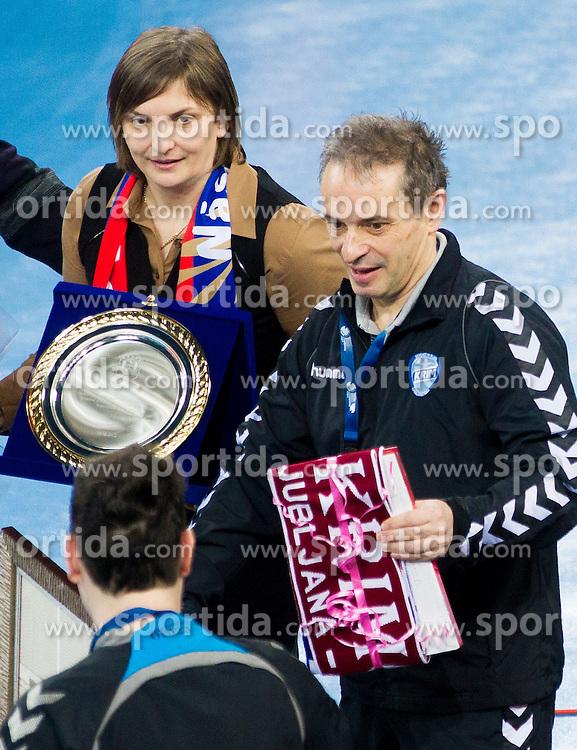 Ana Mihaela Ciora and Tone Tiselj, head coach of Krim Mercator prior to the handball match between RK Krim Mercator and CS Oltchim RM Valcea (ROU) of Women's EHF Champions League 2011/2012, on February 4, 2012 in Arena Stozice, Ljubljana, Slovenia. (Photo By Vid Ponikvar / Sportida.com)