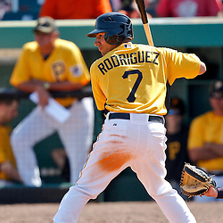 February 25, 2011; Bradenton, FL, USA; Pittsburgh Pirates shortstop Josh Rodriguez (7) during a spring training exhibition game against the State College of Florida Manatees at McKechnie Field. The Pirates defeated the Manatees 21-1. Mandatory Credit: Derick E. Hingle