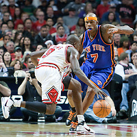 17 December 2009: New York Knicks forward Al Harrington defends against Chicago Bulls forward Luol Deng during the Chicago Bulls 98-89 victory over the New York Knicks at the United Center, in Chicago, Illinois, USA.