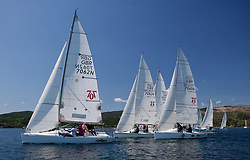 Sailing - SCOTLAND  - 25th-28th May 2018<br /> <br /> The Scottish Series 2018, organised by the  Clyde Cruising Club, <br /> <br /> First days racing on Loch Fyne.<br /> <br /> Hunter 707, Start, GBR7062N, Sharky, Andy Hughes, THYC, Hunter 707 OD<br /> <br /> Credit : Marc Turner<br /> <br /> <br /> Event is supported by Helly Hansen, Luddon, Silvers Marine, Tunnocks, Hempel and Argyll & Bute Council along with Bowmore, The Botanist and The Botanist