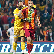 Galatasaray's Burak Yilmaz (R) during their Turkish Super League soccer match Galatasaray between TorkuKonyaspor at the AliSamiYen Spor Kompleksi TT Arena at Seyrantepe in Istanbul Turkey on Friday, 08 May 2015. Photo by Kurtulus YILMAZ/TURKPIX