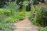 63821-19420 Flower garden with path, arbor, fence, Raspberry Wine Monarda, Luscious Lemonade Lantana, Luscious Grape Lantana, Geranium IL
