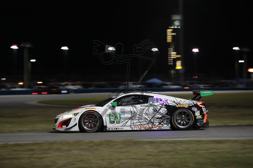 January 07, 2017 - Daytona Beach, Florida, USA:  The Michael Shank Racing Acura NSX GT3 races through the turns at the Roar Before The Rolex 24 at Daytona International Speedway in Daytona Beach,Florida.