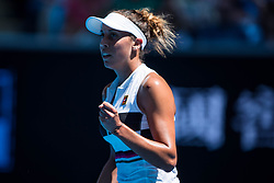 January 21, 2019 - Melbourne, VIC, U.S. - MELBOURNE, VIC - JANUARY 21: MADISON KEYS (USA) during day eight match of the 2019 Australian Open on January 21, 2019 at Melbourne Park Tennis Centre Melbourne, Australia (Photo by Chaz Niell/Icon Sportswire (Credit Image: © Chaz Niell/Icon SMI via ZUMA Press)