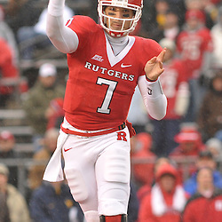 Dec 5, 2009; Piscataway, NJ, USA; Rutgers quarterback Tom Savage (7) passes the ball during first half NCAA Big East college football action between Rutgers and West Virginia at Rutgers Stadium.