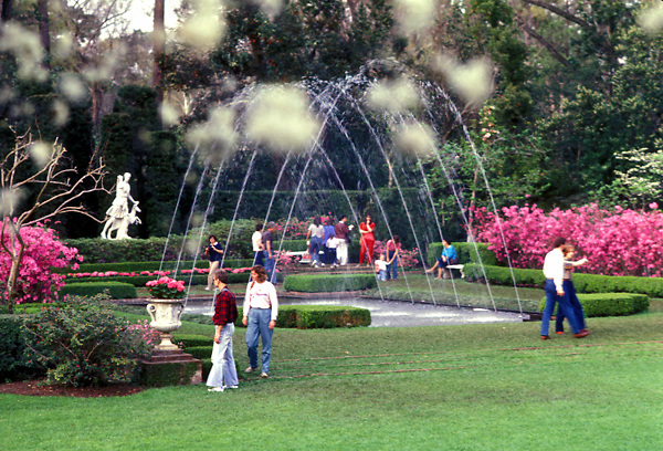 Stock photo of visitors to Bayou Bend enjoying the well-kept gardens with the azaleas and fountains.