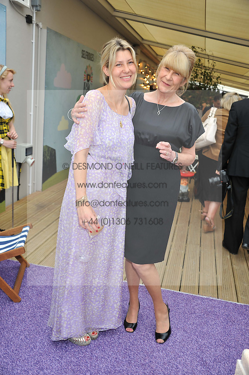 Left to right, SARA PARKER BOWLES and her mother CAROLINE BUYS at a party to celebrate the publication on 'Let's Eat: Recipes From My Kitchen Notebook' by Tom Parker Bowles held at Selfridge's Rooftop. Selfridge's, Oxford Street, London on 27th June 2012.