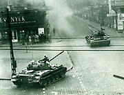Hungarian uprising, October 1956. Soviet tanks in the streets of Budapest.
