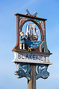 Blakeney one of the traditional painted village signs in North Norfolk, UK