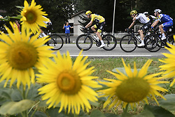July 12, 2017 - Pau, FRANCE - British Chris Froome of Team Sky seen between sunflowers during the 11th stage of the 104th edition of the Tour de France cycling race, 203,5km from Eymet to Pau, France, Wednesday 12 July 2017. This year's Tour de France takes place from July first to July 23rd. BELGA PHOTO YORICK JANSENS (Credit Image: © Yorick Jansens/Belga via ZUMA Press)