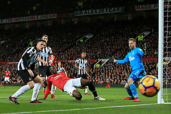 18th November 2017 - Premier League - Manchester United v Newcastle United - Romelu Lukaku of Man Utd shoots wide of the near post - Photo: Simon Stacpoole / Offside.