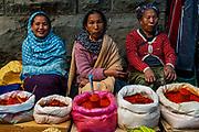 Street vendors in the market of Kohima, Nagaland, India