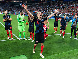 July 11, 2018 - Moscow, Russia - 180711 Domagoj Vida of Croatia celebrate after winning the FIFA World Cup semi final match between Croatia and England on July 11, 2018 in Moscow..Photo: Petter Arvidson / BILDBYRÃ…N / kod PA / 92085 (Credit Image: © Petter Arvidson/Bildbyran via ZUMA Press)