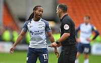 Preston North End's Daniel Johnson talks to Referee Tim Robinson<br /> <br /> Photographer Dave Howarth/CameraSport<br /> <br /> The EFL Sky Bet Championship - Blackpool v Preston North End - Saturday 23rd October 2021 - Bloomfield Road - Blackpool<br /> <br /> World Copyright © 2020 CameraSport. All rights reserved. 43 Linden Ave. Countesthorpe. Leicester. England. LE8 5PG - Tel: +44 (0) 116 277 4147 - admin@camerasport.com - www.camerasport.com