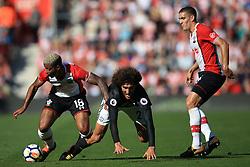 23 September 2017 -  Premier League - Southampton v Manchester United - Marouane Fellaini of Manchester United tangles with Mario Lemina and Oriol Romeu of Southampton - Photo: Marc Atkins/Offside