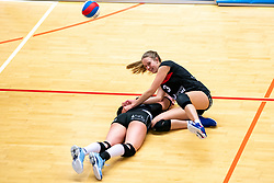 Louise Bijlsma of VCN, Elles Dambrink of VCN in action during the first league match between Djopzz Regio Zwolle Volleybal - Laudame Financials VCN on February 27, 2021 in Zwolle.