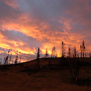 Sunset over Yellowstone National Park during the fall.