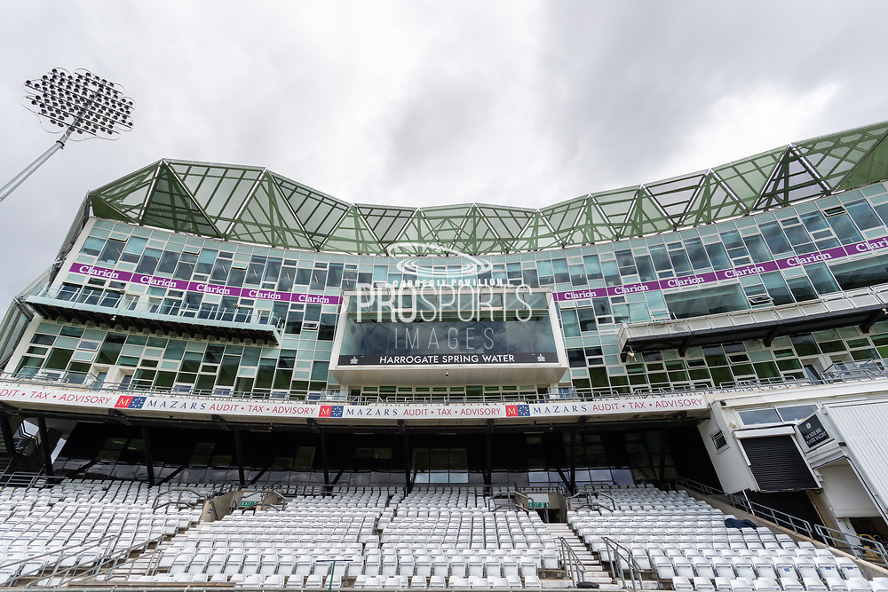 A general view of the Carnegie Pavillion at Emerald Headingley ahead of the opening day of the Specsavers County Champ Div 1 match between Yorkshire County Cricket Club and Hampshire County Cricket Club at Headingley Stadium, Headingley, United Kingdom on 27 May 2019.
