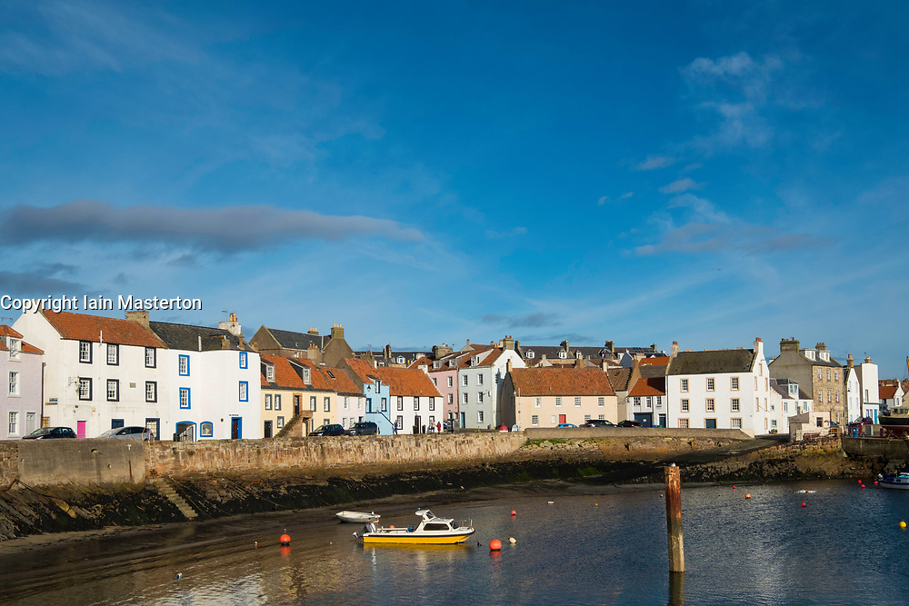 View of historic fishing harbour at St Monans on East Neuk of Fife in Scotland, United Kingdom.