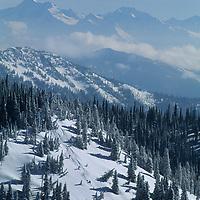 Powder skiers descend uncut powder at The Big Mountain, near Glacier National Park (bkg).