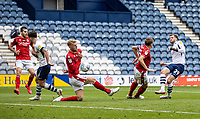 Preston North End's Tom Barkhuizen (right) has a shot on goal blocked by Nottingham Forest's Joe Worrall <br /> <br /> Photographer Andrew Kearns/CameraSport<br /> <br /> The EFL Sky Bet Championship - Preston North End v Nottingham Forest - Saturday 11th July 2020 - Deepdale Stadium - Preston <br /> <br /> World Copyright © 2020 CameraSport. All rights reserved. 43 Linden Ave. Countesthorpe. Leicester. England. LE8 5PG - Tel: +44 (0) 116 277 4147 - admin@camerasport.com - www.camerasport.com