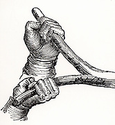 Method of holding the divining rod when searching for metals or water (dowsing).  Woodcut from 'The Saturday Magazine' (London, 30 July 1836).